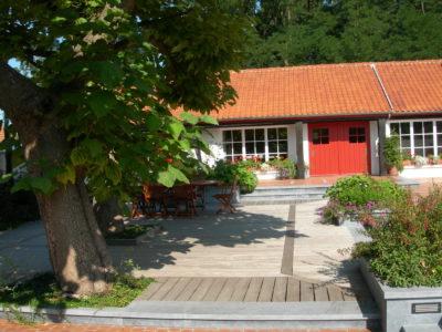Belle terrasse design en Ipé rejoignant un poolhouse à une piscine