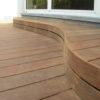 Terrasse en bois sur mesure lasne. Terrasse courbe et en ipé. Système B-Fix. Terrasse sur mesure.