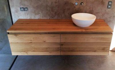meuble de salle de bain sur mesure en chêne massif ultra design et contemporain vasque à déposer mortex meuble suspendus perwez