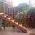 escalier a claire voie sur une terrasse en bois sur mesure bois exotique terrasse à deux étages mur en brique a wavre