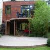 terrasse arrondie et sur pilotis a lasne en bois exotique ipe menuiserie sur mesure