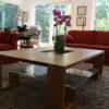 Table basse bois classement moderne classique menuiserie vitre tiroir