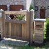 portail Brun bois porte ouvrante grand beau mt design moderne Chastre