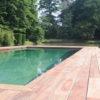 Terrasse en bois piscine grande brun eau Wavre