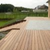 Terrasse en bois et pierre grande brun escalier Wavre