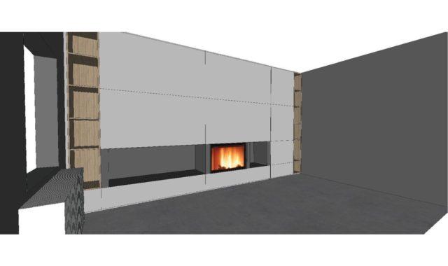 meuble télévision autour dun feux ouvert avec tv cachée