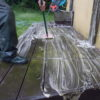 nettoyage d'une passerelle en bois avec un savon netrol lasne
